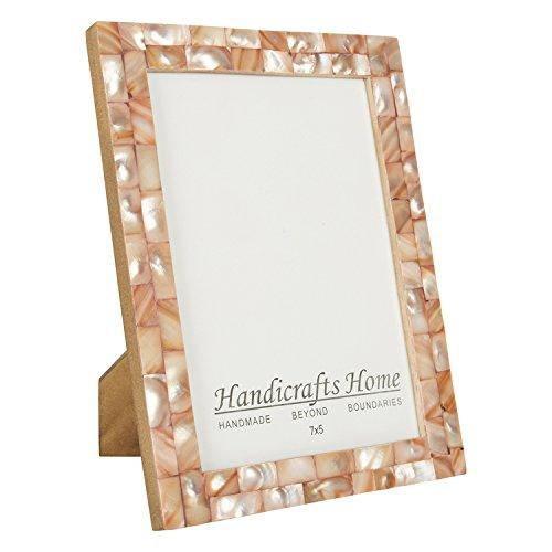 Chic Pink Mother of Pearl Handmade Vintage 5x7 Picture Frame - Pink and Caboodle
