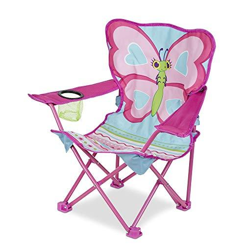 Melissa & Doug Cutie Pie Pink Butterfly Camp Chair w/Cup Holder & Carry Bag