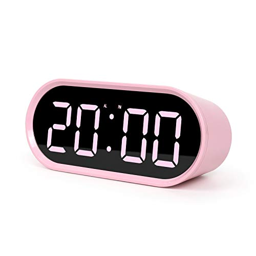 Pop Mirror LED Alarm Desk Clock w/Snooze & Temperature, Pink