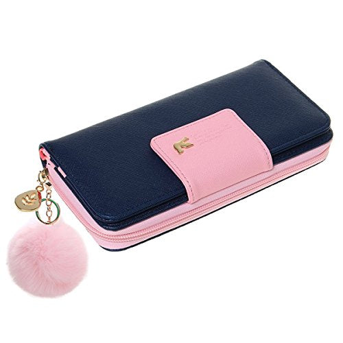 Wallet-NEWANIMA Women Lady Multi-card Two Fold Long Zipper Clutch Purse Handbag With Keychain (Darkblue)
