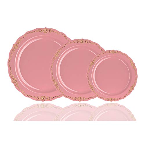 60-Pcs Pink & Gold Premium Disposable Plastic Plates for Parties & Weddings