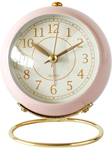 Classic Non-Ticking Small Tabletop Alarm Clock w/Backlight, Pink