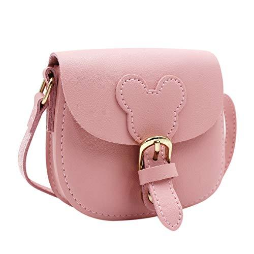 Girl's Pink Leather Mini Crossbody Shoulder Bag
