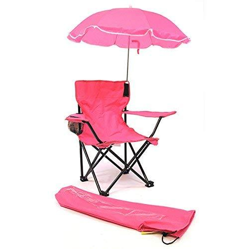 Kid's Camp/Beach Chair with Carry Umbrella & Matching Tote Bag, Hot Pink