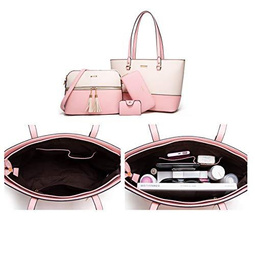 4-Pcs Pink & Beige Handbag, Tote, Shoulder Bag, Satchel Purse Set - Pink and Caboodle