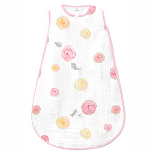 Amazing Baby Muslin Sleeping Sack with 2-Way Zipper, Watercolor Roses, Pink, Medium