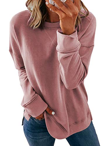 Women's Long Sleeve Crewneck Sweatshirt Side Split Pullover Blouse  (34 styles)