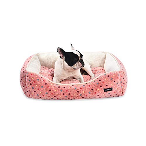 Cuddler Pet Bed For Cats or Dogs - Soft and Comforting - Large, Pink Polka Dots