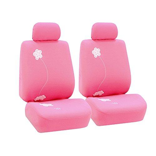 Universal Fit Pink Floral Embroidery Design Full Set Seat Covers, Split Bench - Pink and Caboodle