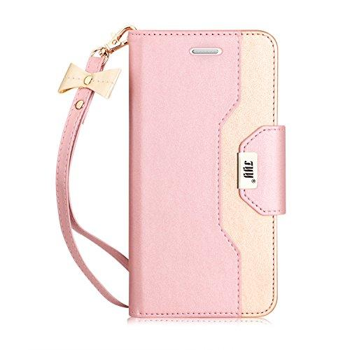 Galaxy S7 Edge Case, Premium Leather Wallet w/Cosmetic Mirror & Bow Knot Strap - Pink and Caboodle