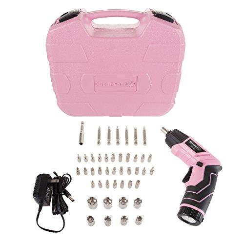 45-Pc Cordless Rechargeable Power Tool Set and Case - Pink and Caboodle