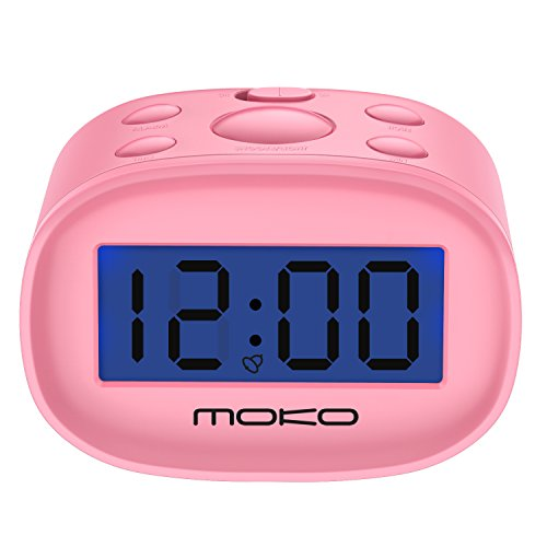 Kid's Alarm Clock, Mini LCD Display Digital Clock w/Night Light, Pink