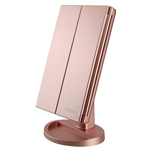 Tri-Fold Lighted Vanity Makeup Mirror, 21 LED Lights, 2X-3X Magnification, Touch Sensor
