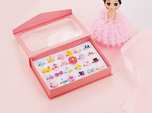 PinkSheep Little Girl Jewel Rings in Box, Adjustable, Set of 24 - Pink and Caboodle
