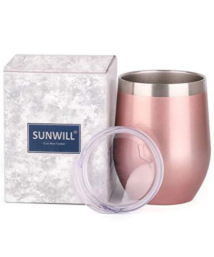 12-oz Rose Gold Double Wall Stainless Steel Stemless Insulated Wine Tumbler - Pink and Caboodle