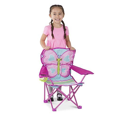 Melissa & Doug Cutie Pie Pink Butterfly Camp Chair w/Cup Holder & Carry Bag - Pink and Caboodle