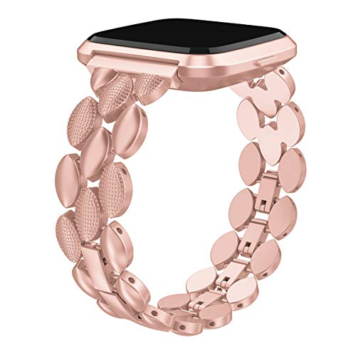 Rose Gold Metal Link Bracelet Replacement Wristband Compatible with Fitbit Versa/Versa 2/Versa Lite