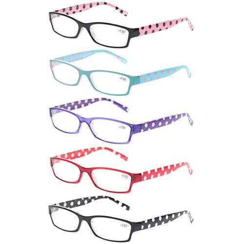 5-Pack Mixed Color Quality Fashion Reading Glasses, Multiple Strengths