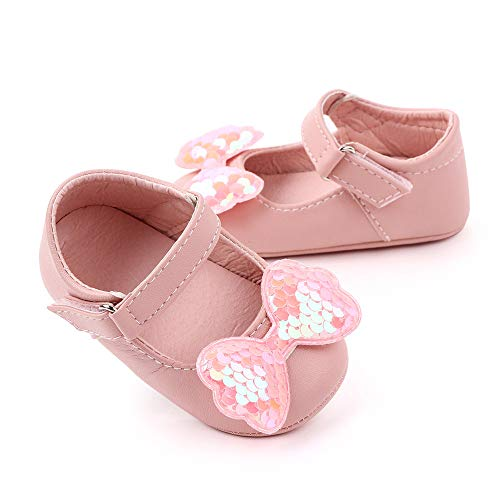Meckior Infant Baby Girls Boys Handmade Princess Flats Toddler First Walkers Soft PU Leather Non-Slip Crib Wedding Dress Shoes