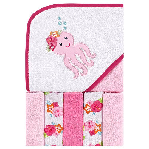 Unisex Baby Hooded Towel with Five Washcloths, Tropical Octopus, Pink