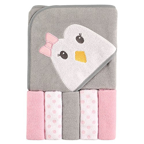 Unisex Baby Hooded Towel with Five Washcloths, Pink Penguin