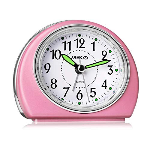 Small Battery Powered Alarm Clock w/Snooze & Night Light, Silent, Pink