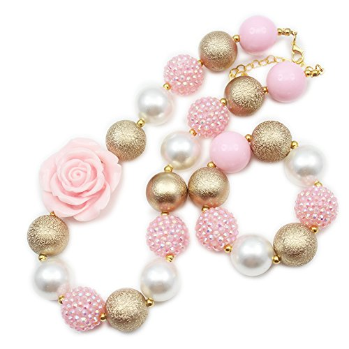 Girl's Pink & Gold Chunky Bubblegum Necklace-Bracelet Set