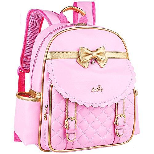 Girl's Roomy Bow Knot Waterproof PU Leather Backpack-Book Bag
