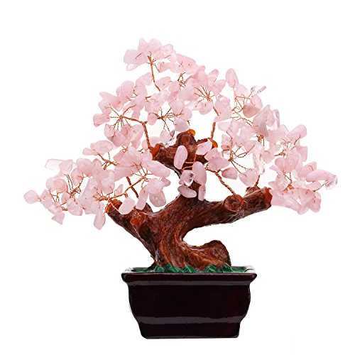 Feng Shui Natural Rose Pink Quartz Crystal Money Tree Bonsai Style Decoration