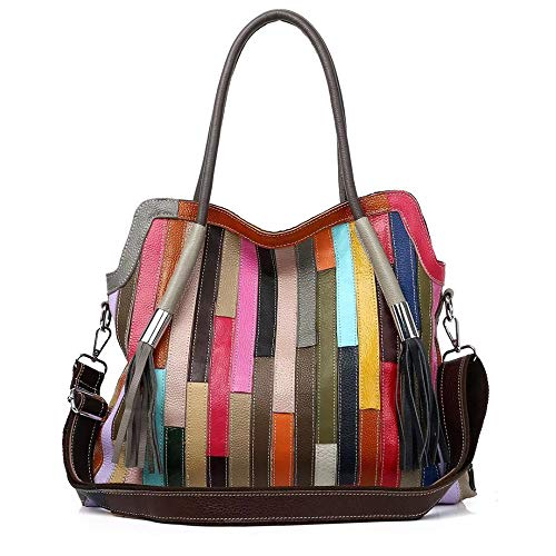 Women's Multicolor Boston Bag Genuine Leather Colorful Large Tote Handbag Purse (Colorful-Middle size-2)