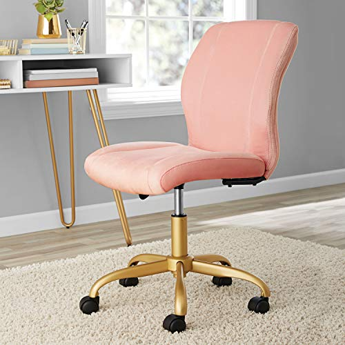 Elegant Plush Velvet Pink Pearl Blush Upholstered Office Desk Chair