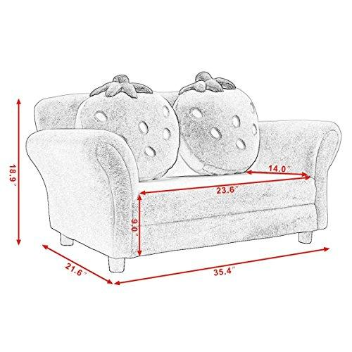 Costzon Kids Sofa Lounge Couch w/2 Cushions  (2 colors) - Pink and Caboodle