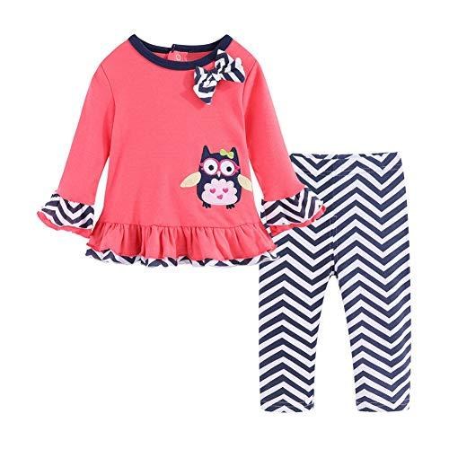 Girl's Pink-Black Striped Long Sleeve Owl T-Shirt & Pants Outfit - Pink and Caboodle