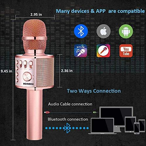 BONAOK Wireless Bluetooth Karaoke Microphone,3-in-1 Portable Handheld karaoke Mic Speaker Machine Christmas Birthday Home Party for Android/iPhone/PC or All Smartphone(Q37 Rose Gold Plus) - Pink and Caboodle