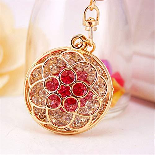 Kissweet Cute Rhinestone Flower Keychains Colorful Diamond Rose Car Key Ring Round Holder for Women Girls Bag Backpack Christmas Gift (Pink) - Pink and Caboodle