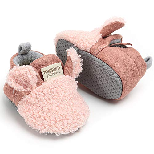 Newborn Baby Boys Girls Cozy Fleece Booties with Gripper Soles, Pink  (25 styles)