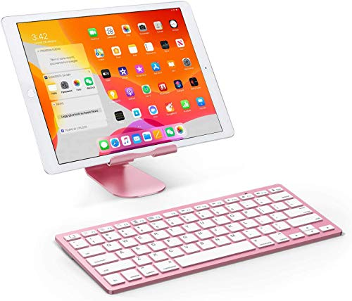 Rose Gold Ultra Slim Bluetooth Keyboard, Pink w/White Keypad