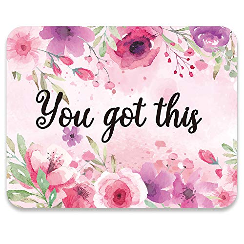AUDIMI Mouse Pad Pink and Purple Flower Design You Got This Inspirational Quote Watercolor Floral Mouse Mat for Girl Office Decor Working Gaming