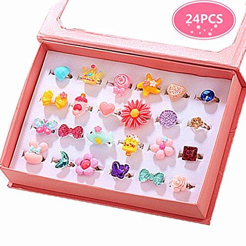 PinkSheep Little Girl Jewel Rings in Box, Adjustable, Set of 24