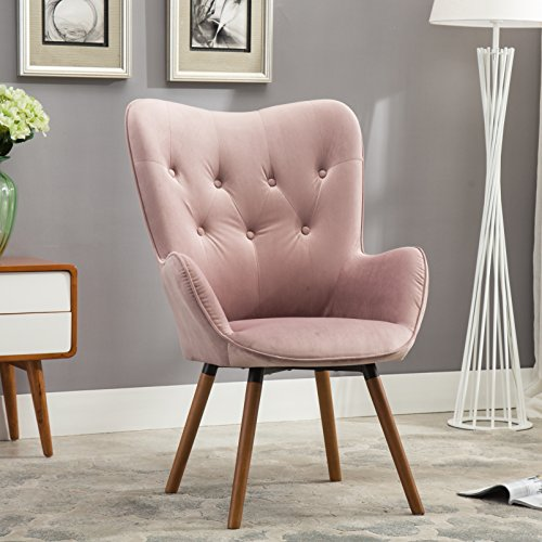 Roundhill Contemporary Silky Velvet Tufted Button Back Accent Chair