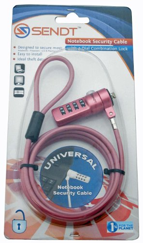 Sendt Pink Notebook / Laptop Combination Lock Security Cable