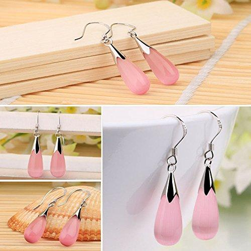 Acxico Jewelry Opals Water Drop Earrings (Pink) - Pink and Caboodle
