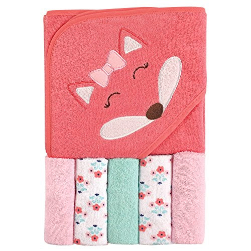Unisex Baby Hooded Towel with Five Washcloths, Pink Girl Fox