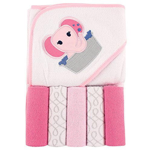 Unisex Baby Hooded Towel with Five Washcloths, Pink Elephant