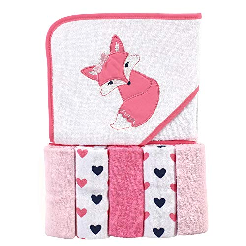 Unisex Baby Hooded Towel with Five Washcloths, Pink Fox