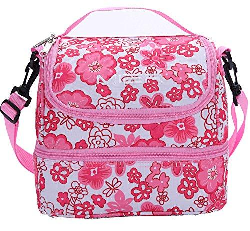 MIER Double Decker Insulated Adult Lunch Box w/Shoulder Strap