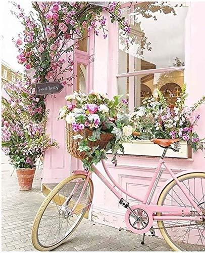 Pink Bicycle & Floral Garden 5D Full Drill Diamond Painting