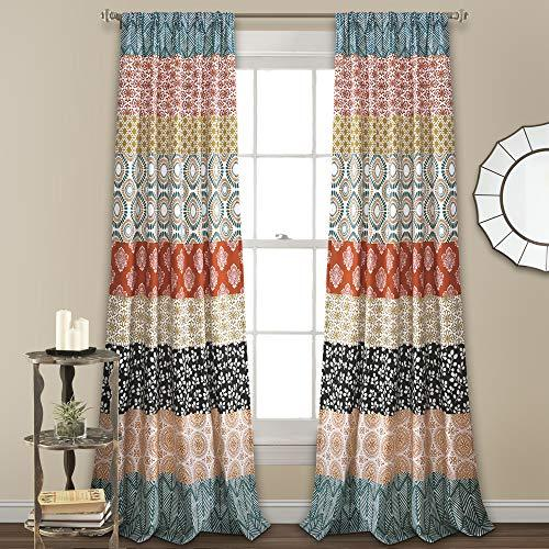 Colorful Bold Bohemian Stripe 84 x 52 Window Curtain Panel Pair