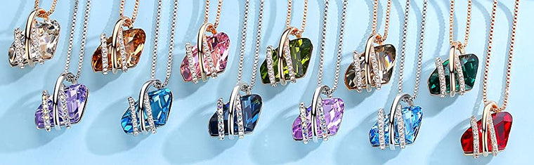 18K Rose Gold Pendant Necklace with Vintage Birthstone Crystals  (12 colors)
