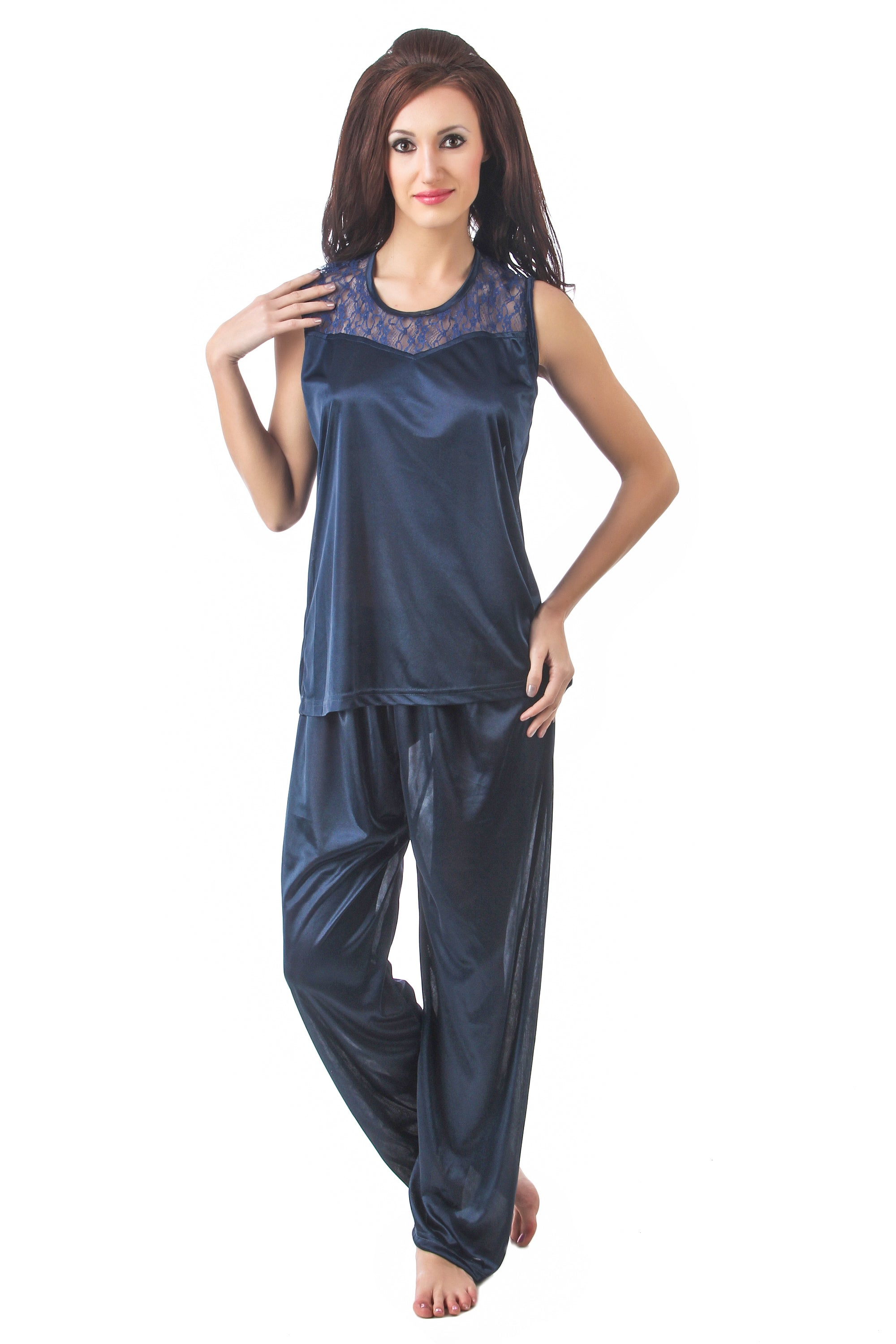Fasense satin nightwear round neck top and pajama night suit for women DP088 - fasensestore